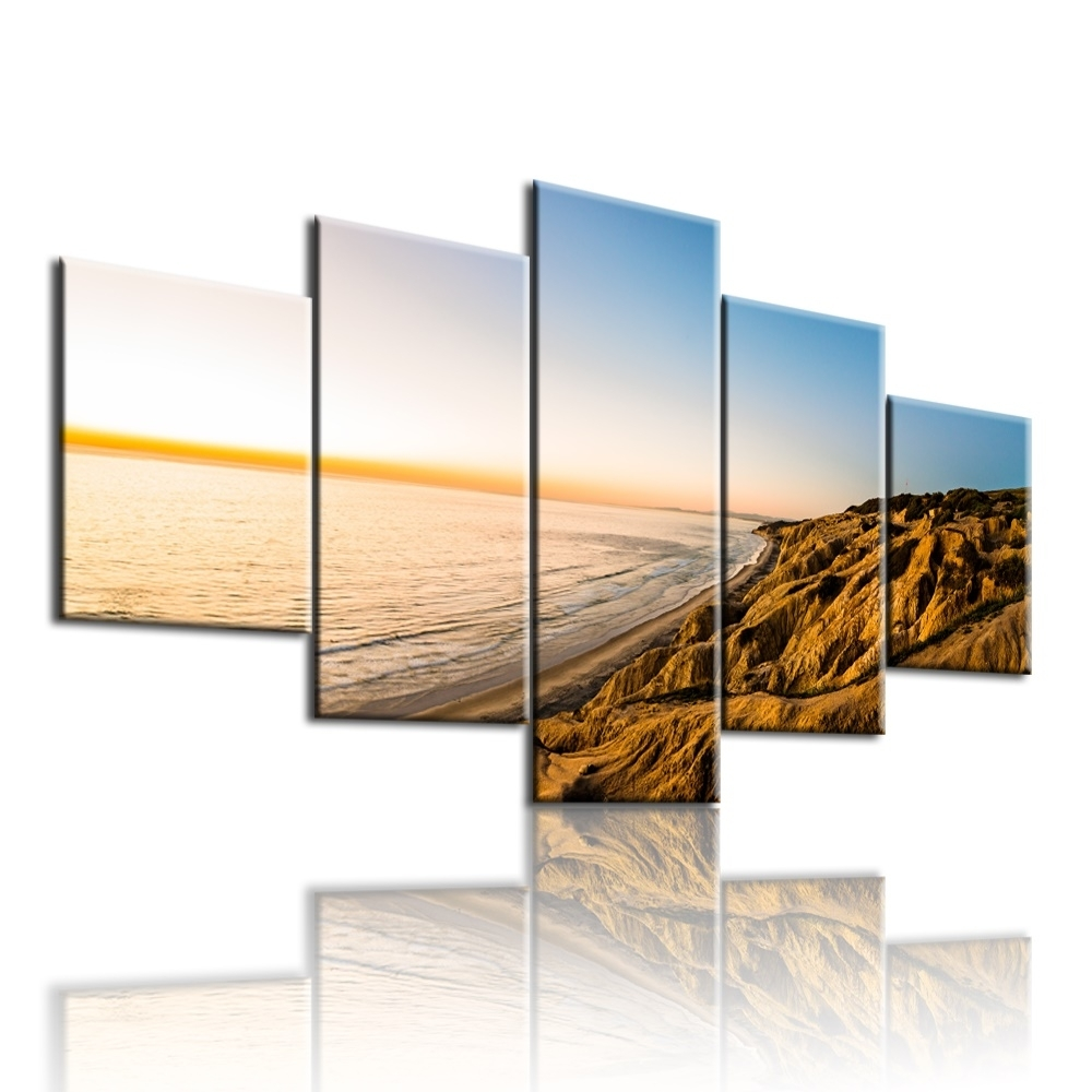 5Pcs The Gold Coast Printed Canvas Picture Oil Painting On Canvas In Most Recently Released Gold Coast Canvas Wall Art (View 1 of 15)