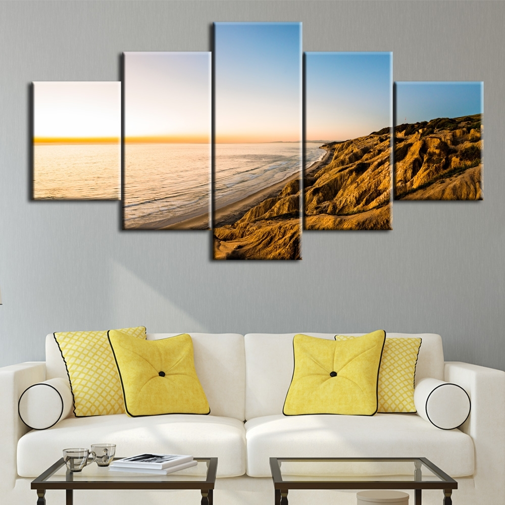 5Pcs The Gold Coast Printed Canvas Picture Oil Painting On Canvas Pertaining To Most Popular Gold Coast Canvas Wall Art (View 2 of 15)