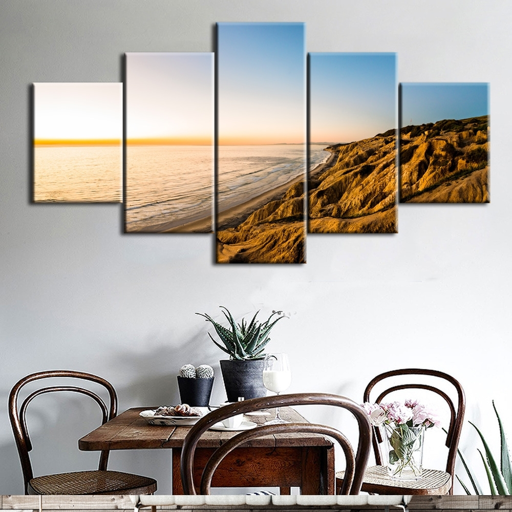 5Pcs The Gold Coast Printed Canvas Picture Oil Painting On Canvas Pertaining To Recent Gold Coast Canvas Wall Art (View 3 of 15)