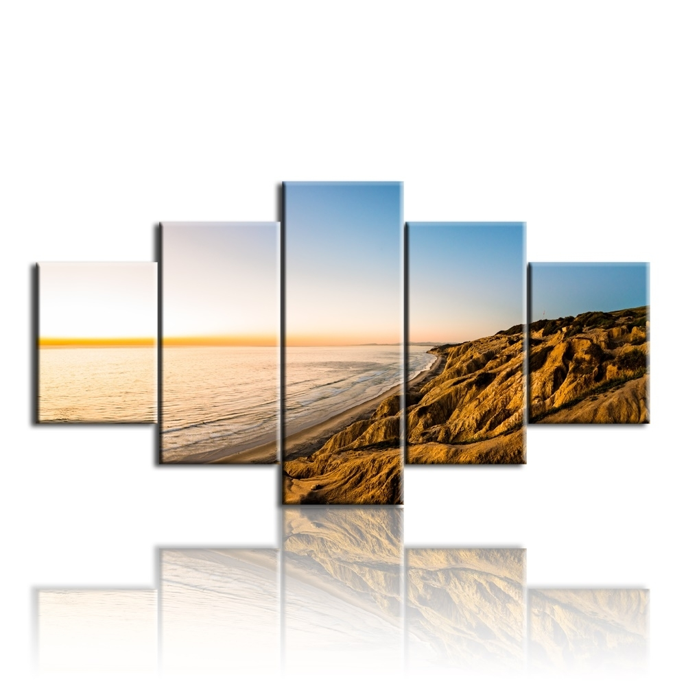 5Pcs The Gold Coast Printed Canvas Picture Oil Painting On Canvas throughout Recent Gold Coast Canvas Wall Art