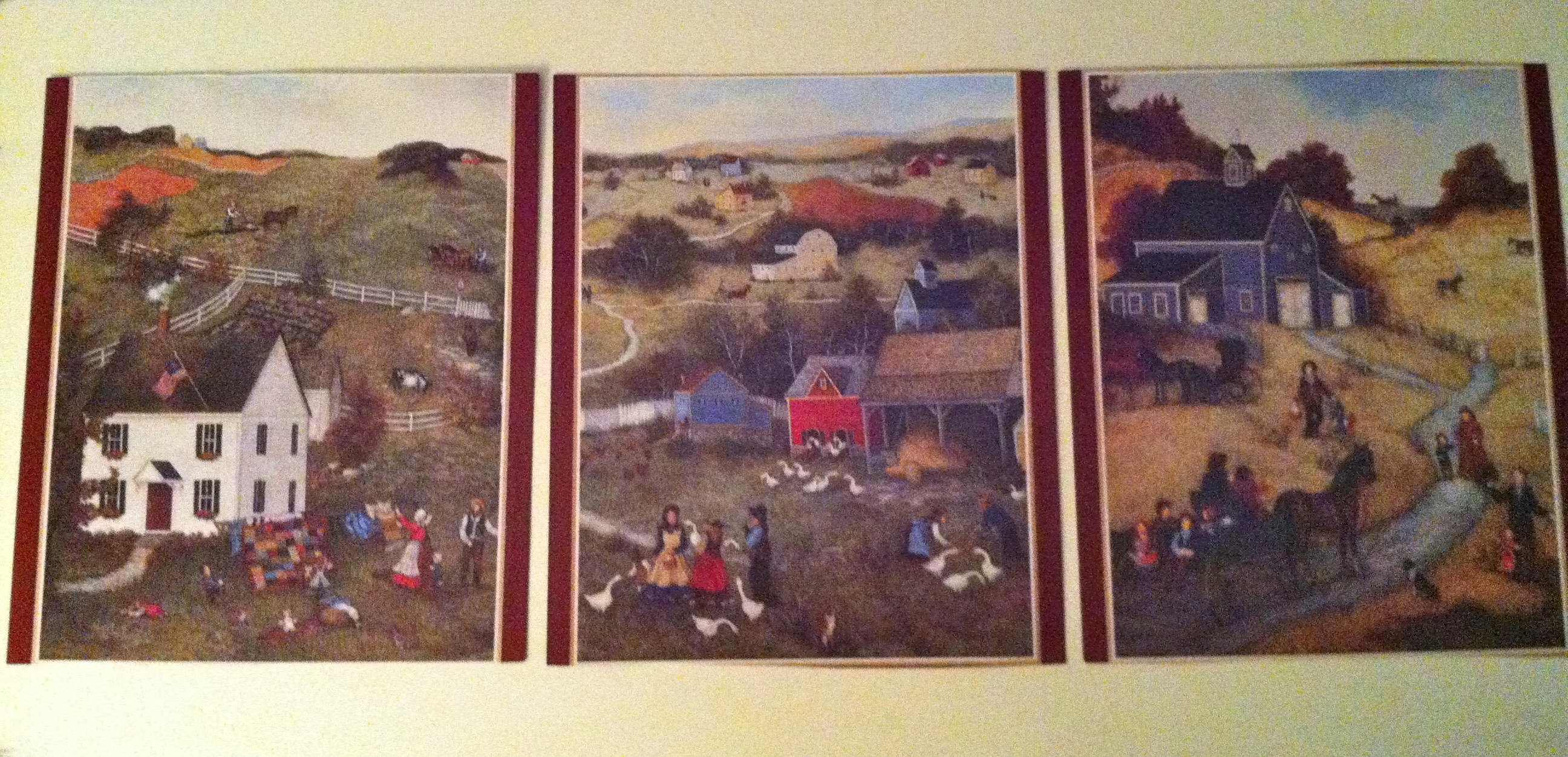 6 Prints Two Sided – Americana Primitive Art Prints/set Of Pertaining To Newest American Folk Art Framed Prints (View 2 of 15)