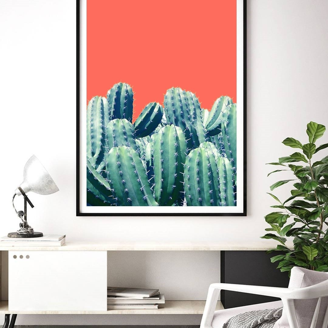 "83 Oranges™ On Twitter: ""'cactus On Coral' Art & Framed Art Prints For 2017 Framed Coral Art Prints (View 14 of 15)"