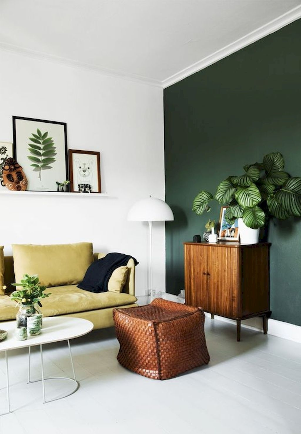 85 Cool Scandinavian Style Living Room Decor And Design Ideas Inside 2018 Green Wall Accents (View 6 of 15)