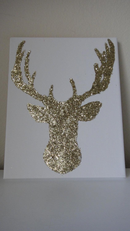 8X10 Gold Glitter Reindeer Deer Canvas Wall Art | Gold Glitter Intended For Most Popular Glitter Canvas Wall Art (View 2 of 15)
