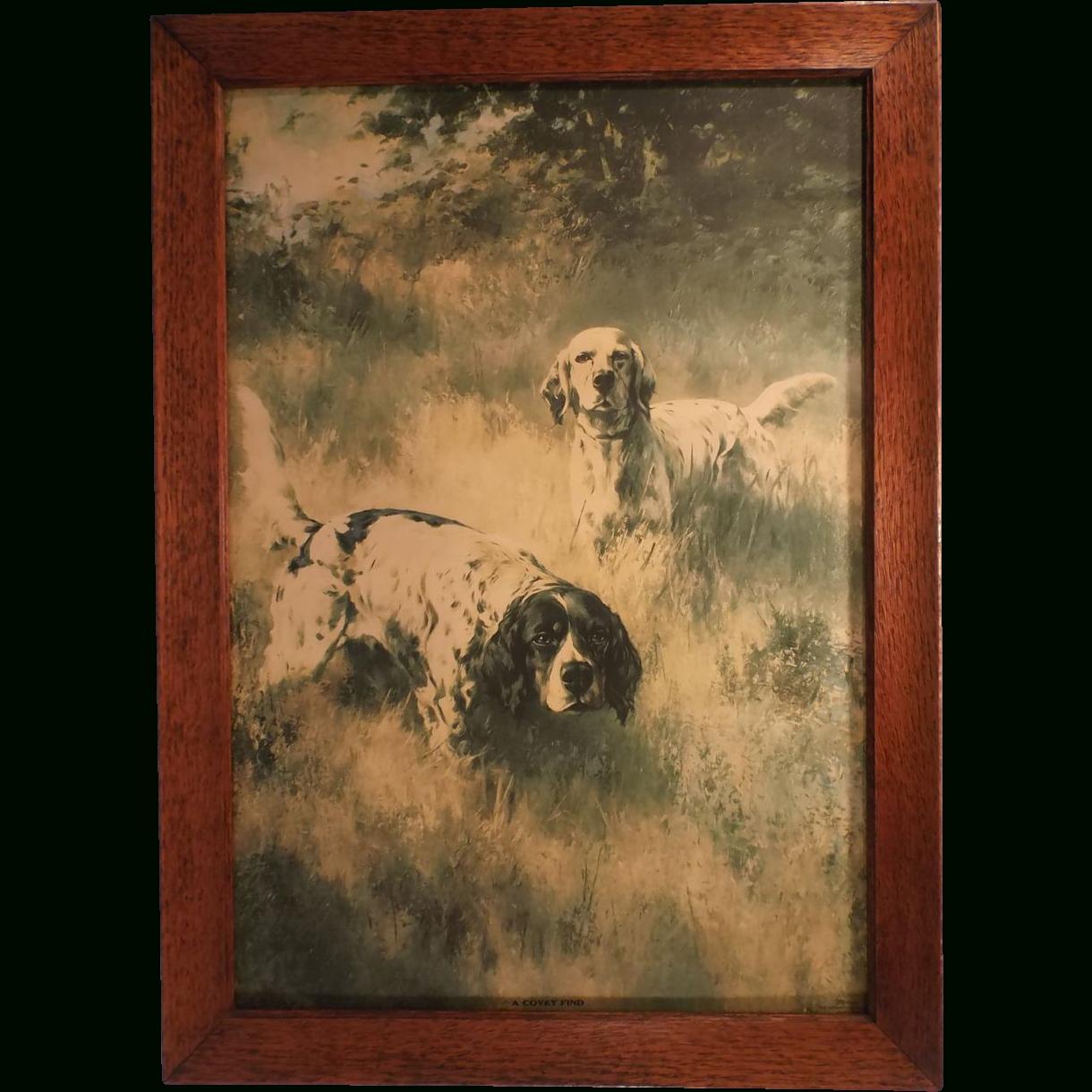 A Covey Find, Vintage Fine Art Framed Hunting Dog Print, Percival In Recent Dog Art Framed Prints (View 6 of 15)