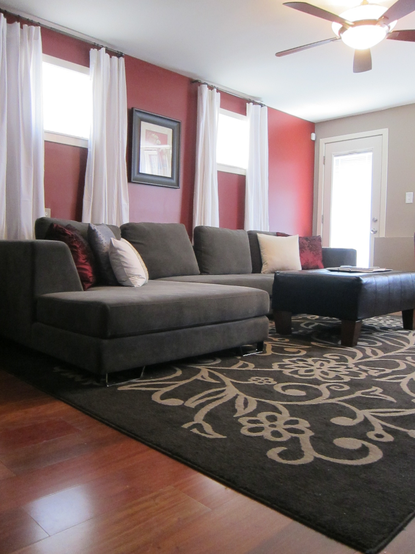 A Philadelphia Tv Host's Home! Complete With A Red Accent Wall Regarding Most Up To Date Wall Accents Behind Tv Or Couch (View 8 of 15)