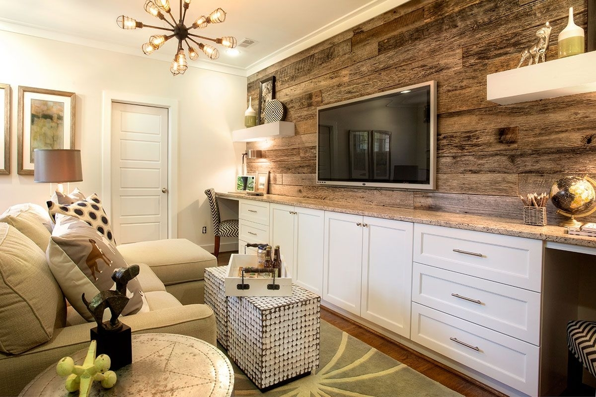 A Reclaimed Wood Accent Wall And Built In Desks Elevate The Design For 2018 Basement Wall Accents (View 1 of 15)