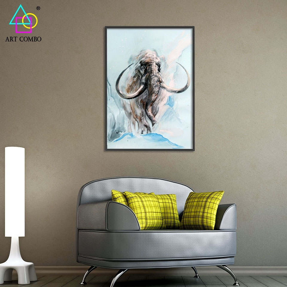 Abstract 3D Artwork Fabric Painting Animals Mammoth Drawing Home Regarding Most Current Fabric Painting Wall Art (View 12 of 15)