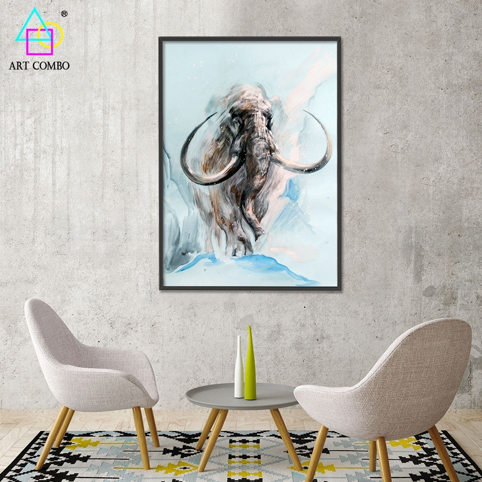 Abstract 3D Artwork Fabric Painting Animals Mammoth Drawing Home Within Most Up To Date Elephant Fabric Wall Art (View 1 of 15)