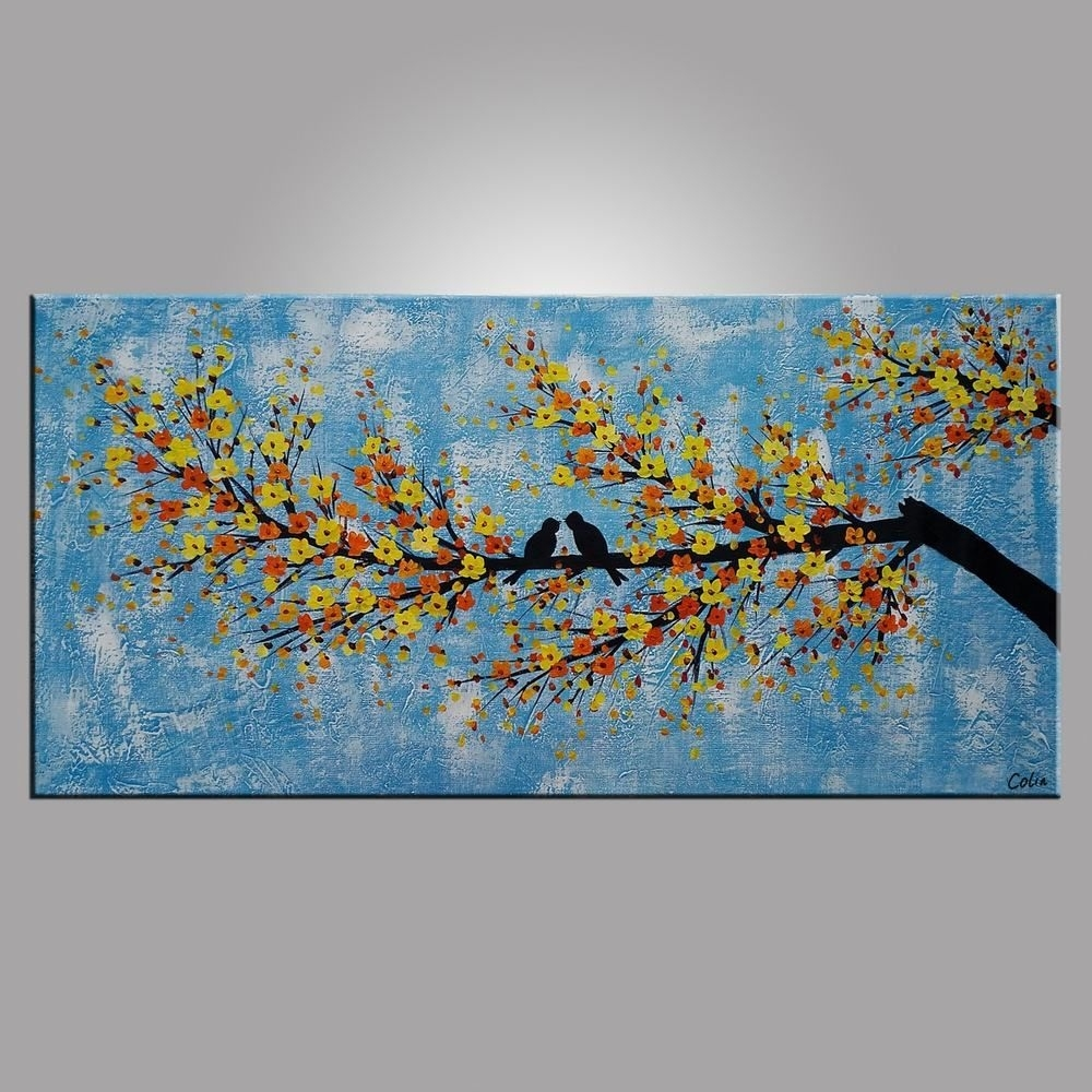 Abstract Art, Love Birds Painting, Bedroom Wall Art, Abstract Pertaining To Recent Birds Canvas Wall Art (View 1 of 15)