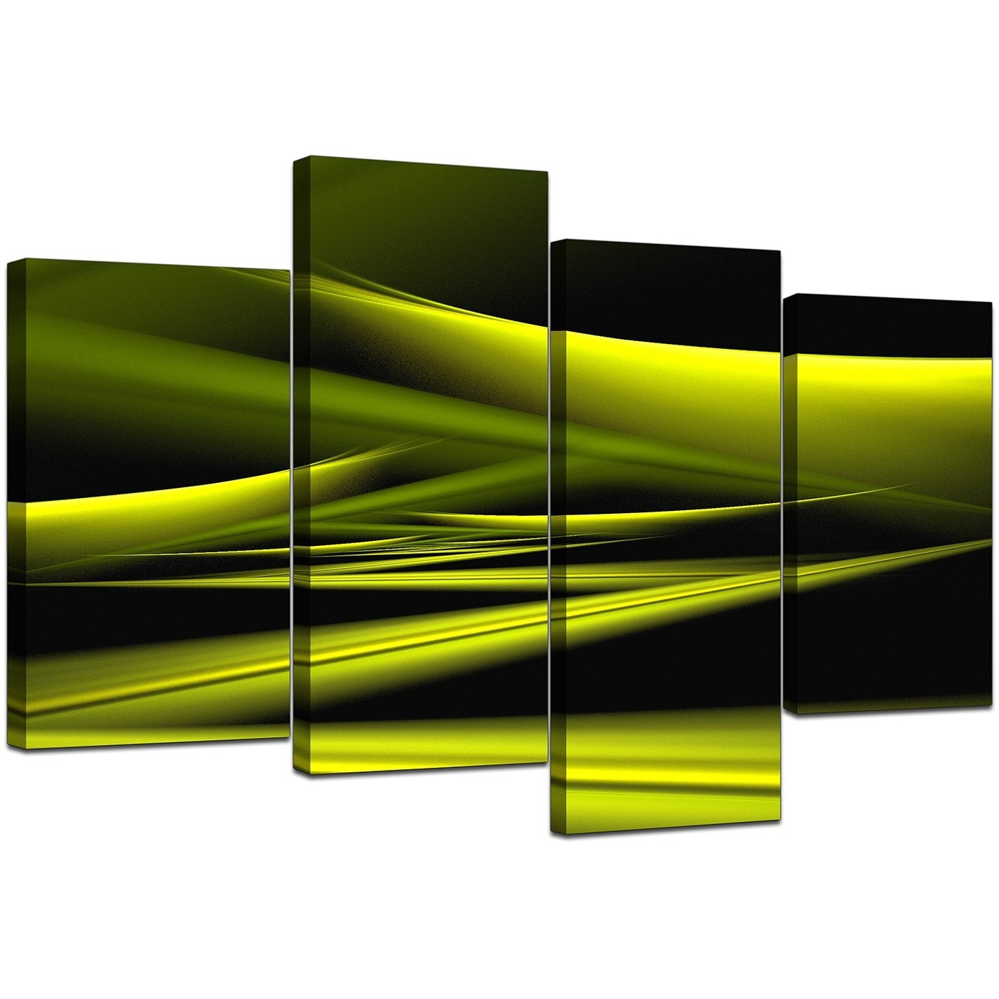 Abstract Canvas Pictures In Green For Your Living Room – Set Of 4 In Most Recent Lime Green Canvas Wall Art (View 3 of 15)