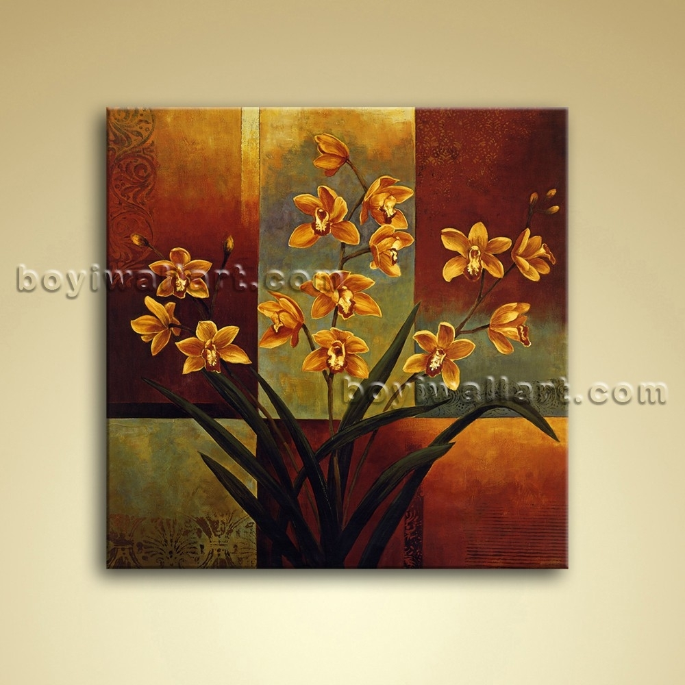 Abstract Floral Painting Oil Canvas Wall Art Orchid Flower In Recent Orchid Canvas Wall Art (View 1 of 15)