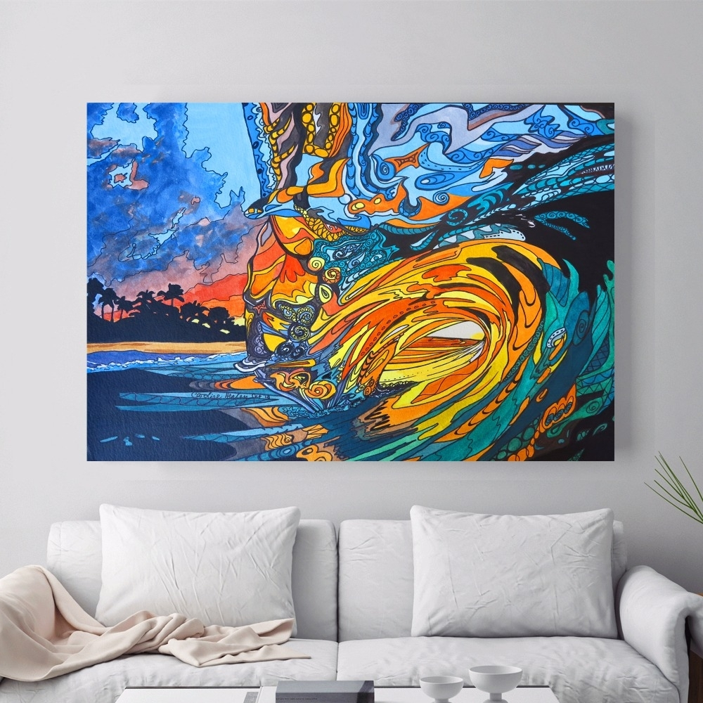 Abstract Hawaii Surf Artwork Canvas Art Print Painting Poster Wall Throughout Most Recently Released Hawaii Canvas Wall Art (View 8 of 15)