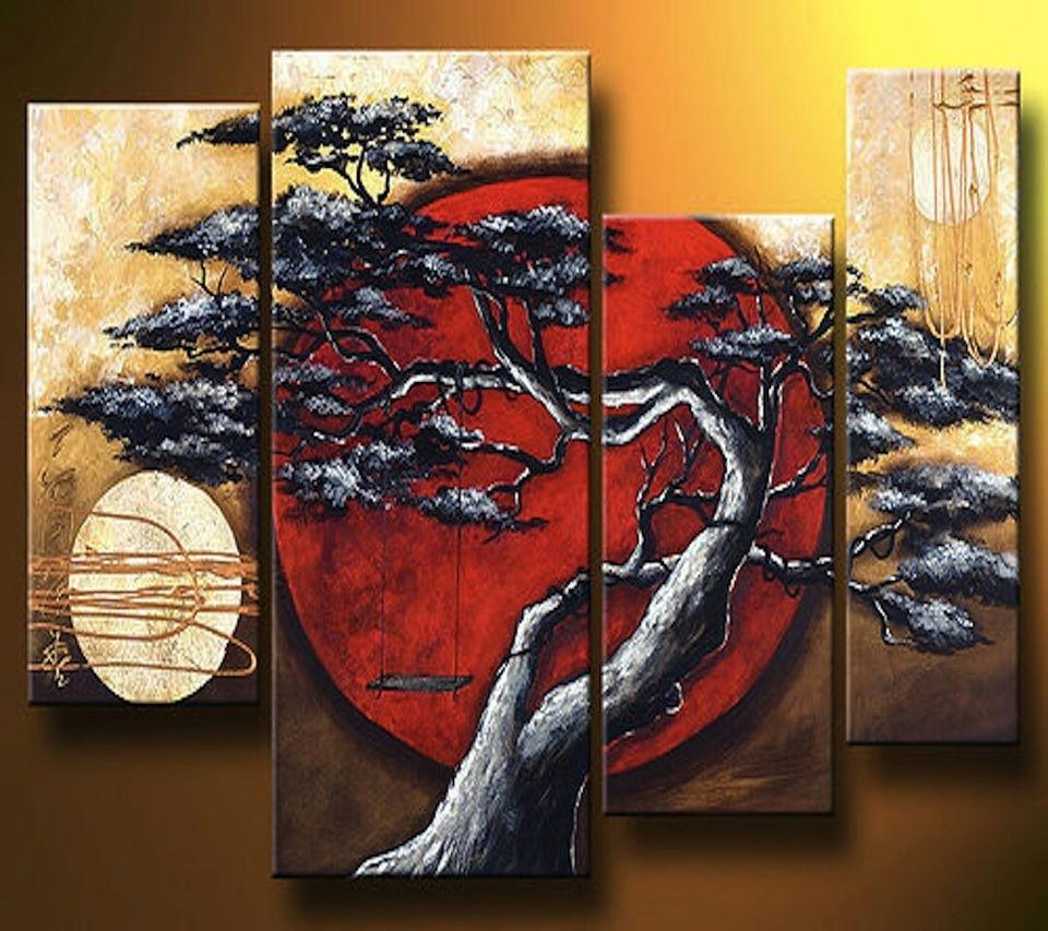 Abstract Modern Landscape Asian Tree Artgabriela 44X32 Black Regarding 2017 Framed Asian Art Prints (View 3 of 15)