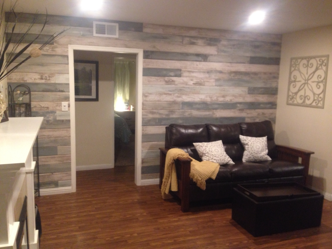 Accent Wall Blue, White, Grey Stained And Tongue And Grove For 2017 Wall Accents With Pallets (View 12 of 15)