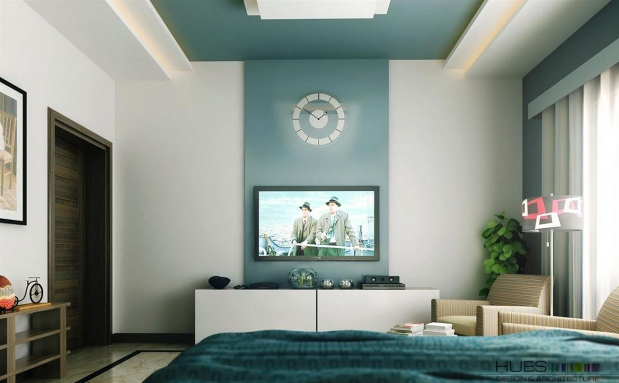 Accent Wall Color For High Walls With Round Clock Ideas And Tv On Intended For 2018 Neutral Color Wall Accents (View 1 of 15)