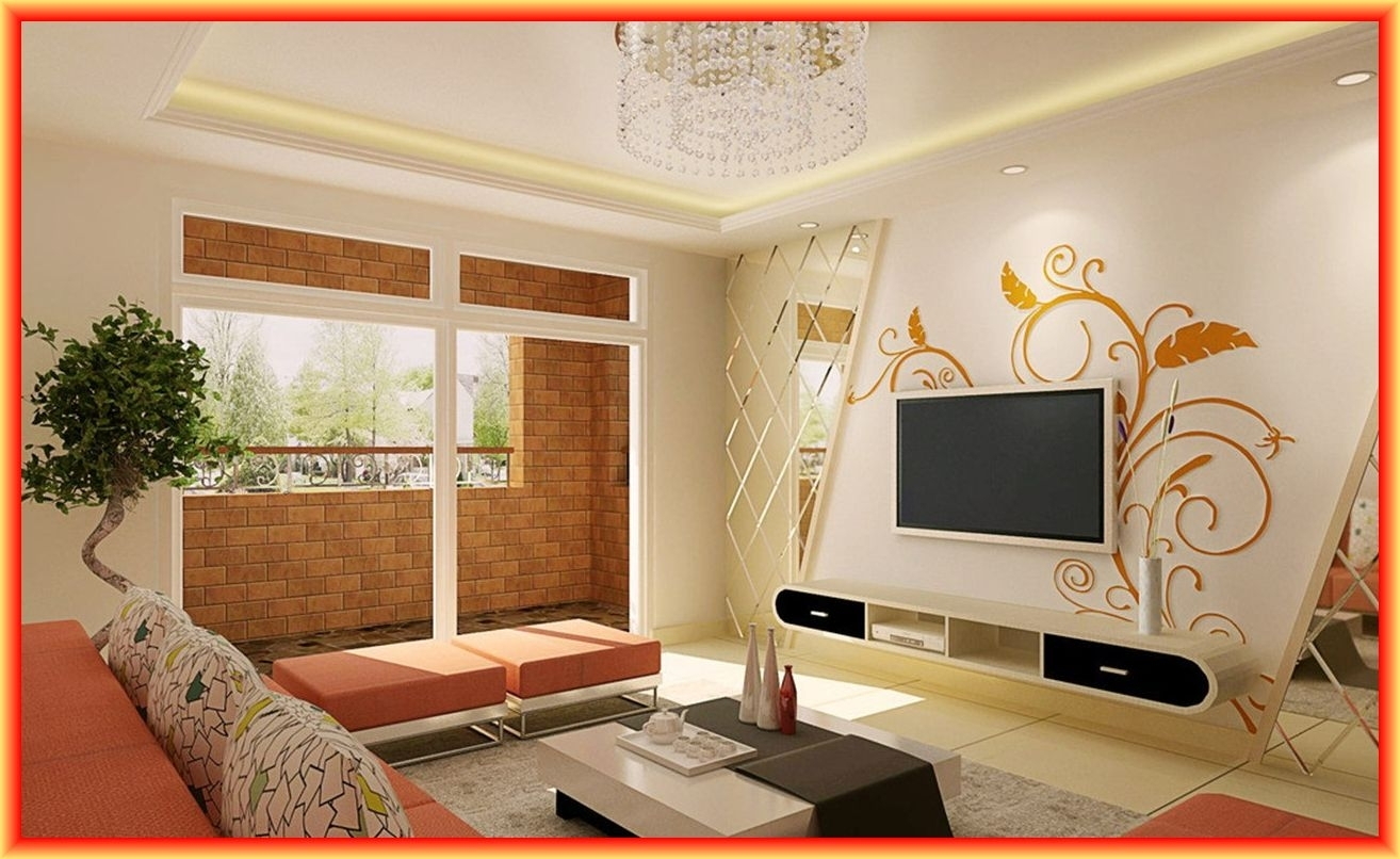 Accent Wall Color For High Walls With Round Clock Ideas And Tv On Regarding Most Popular Wall Accents For Small Living Room (View 15 of 15)