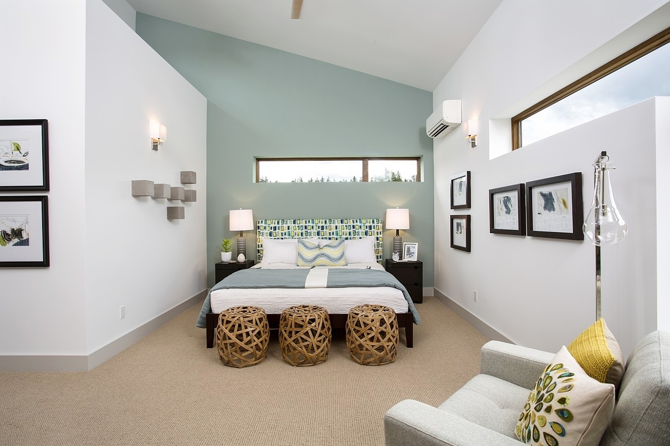 Accent Wall Paint Pattern Ideas Houzz Bedroom Accent Wall Blue And Pertaining To Recent Gray Wall Accents (View 3 of 15)