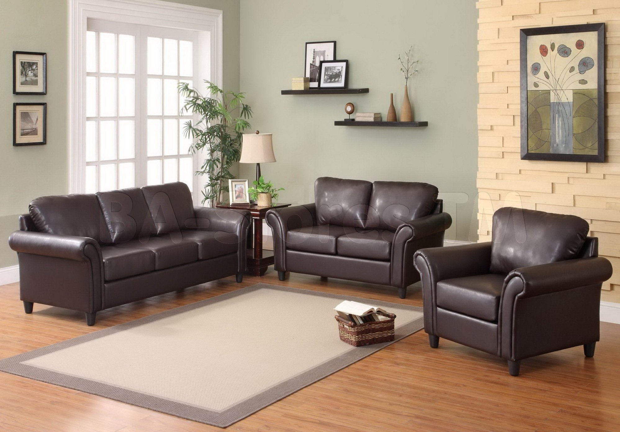 Accent Wall With Brown Furniture Presenting Black Leather Sofa And Intended For 2017 Brown Furniture Wall Accents (View 5 of 15)