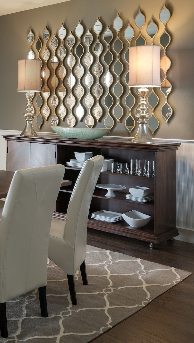 Adding Multiple Little Mirrors Instead Of One Large Mirror Adds For Most Recent Dining Room Wall Accents (View 7 of 15)