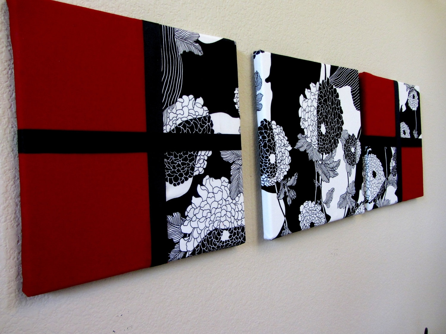 Admirable Wall Art Oversized Abstract Wall Art Black For Scenario In Most Recent Red Fabric Wall Art (View 5 of 15)