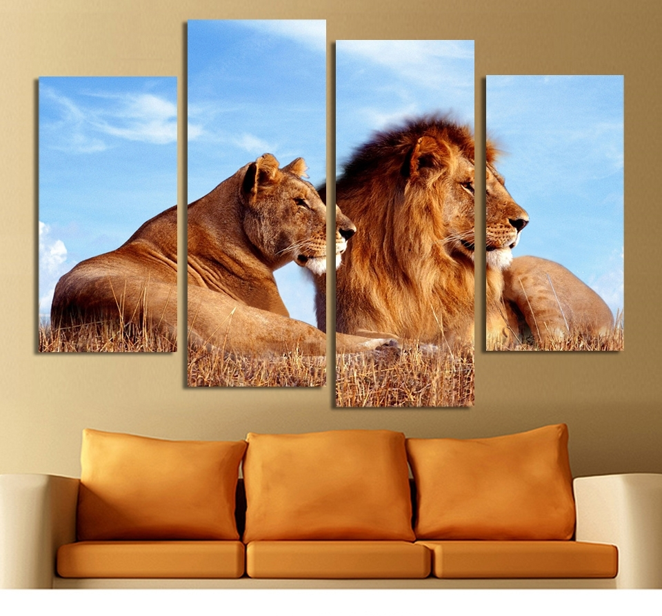 Aliexpress : Buy 4 Panels Lion King Abstract Paintings On With Most Recently Released Lion King Canvas Wall Art (View 4 of 15)