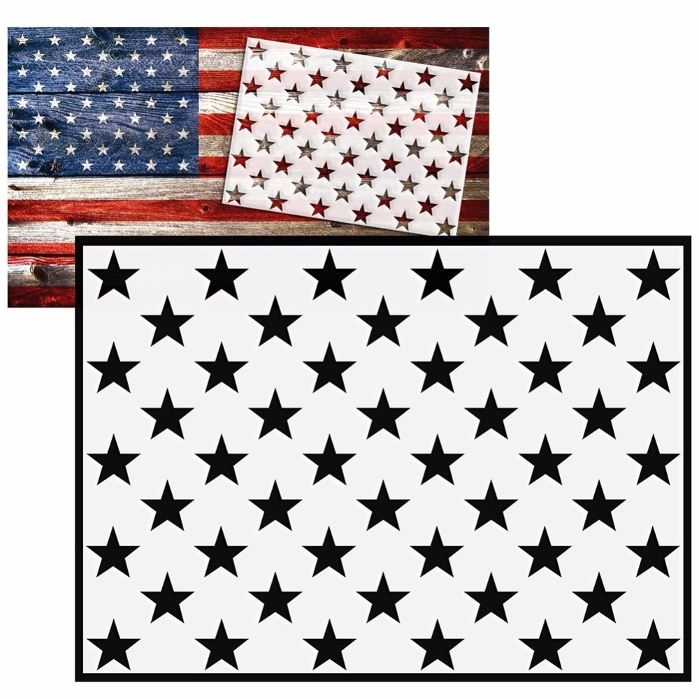 Aliexpress : Buy Diy American Flag 50 Stars Stencil For Pertaining To Recent American Flag Fabric Wall Art (View 3 of 15)