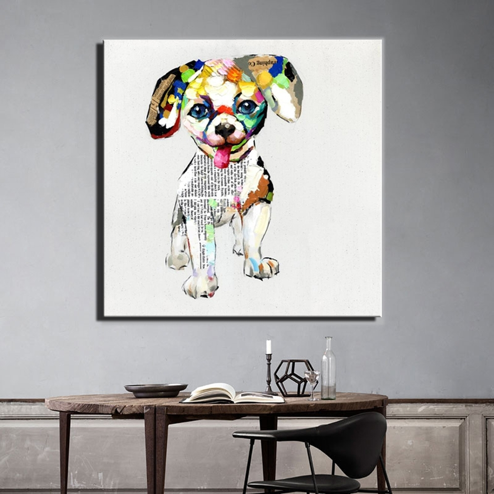 Aliexpress : Buy Large Size 70X70Cm Abstract Dogs Canvas Regarding Most Popular Dogs Canvas Wall Art (View 4 of 15)