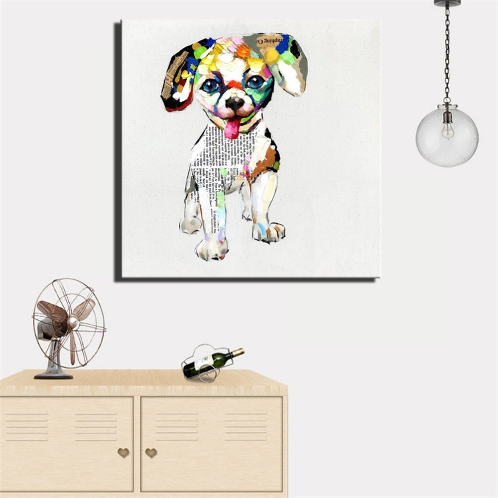 Aliexpress : Buy Large Size 70X70Cm Abstract Dogs Canvas Throughout Most Popular Dogs Canvas Wall Art (View 5 of 15)
