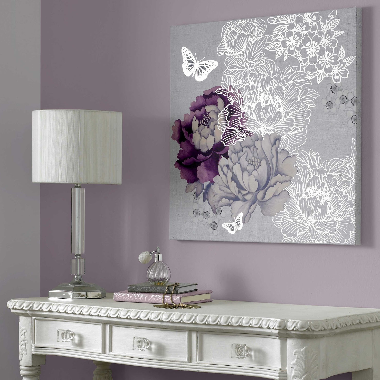 All That Glitters – Floral Metallic, Wall Art, 60X60Cm | Achica Intended For Current Lilac Canvas Wall Art (View 3 of 15)