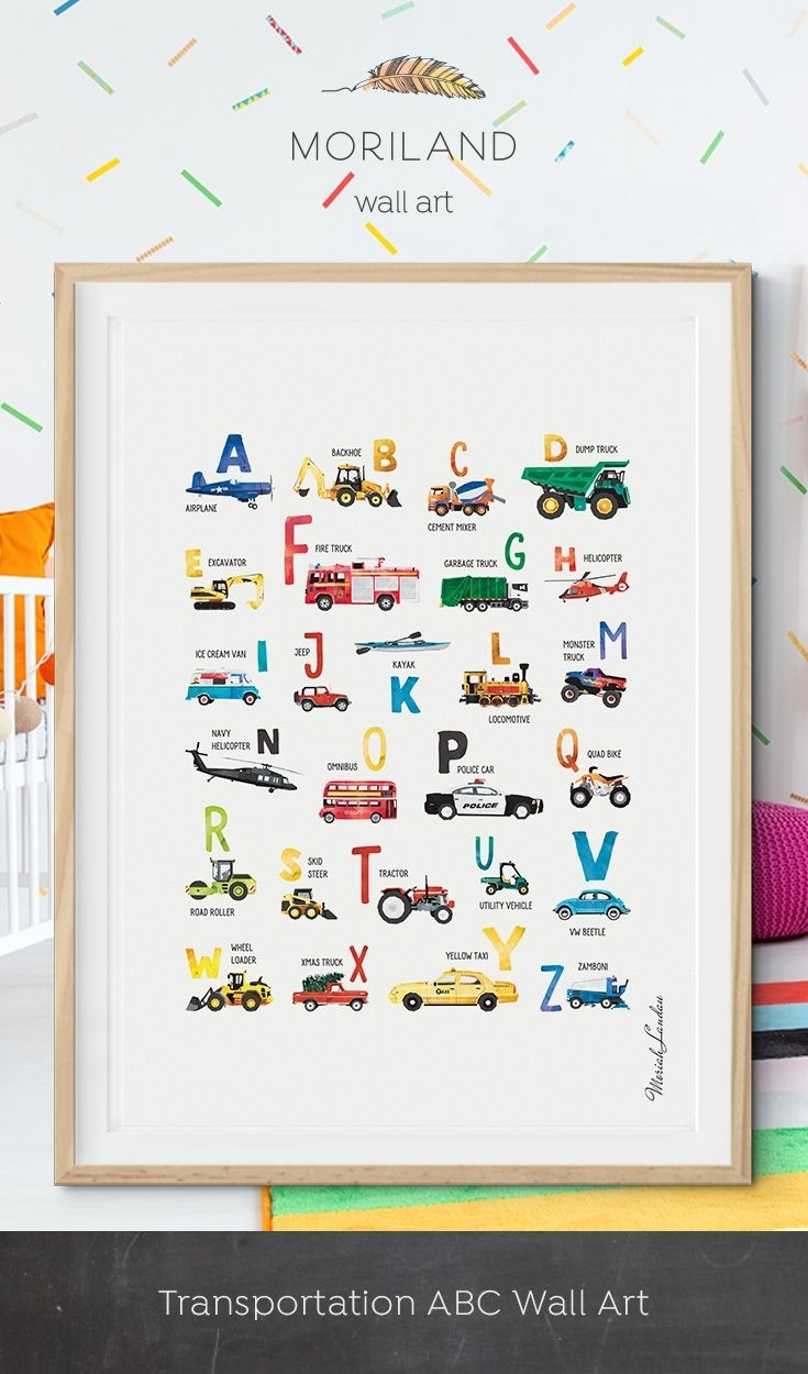 Alphabet Print, Transportation Alphabet Poster, Abc Poster Inside Most Recently Released Cars Theme Canvas Wall Art (View 7 of 15)