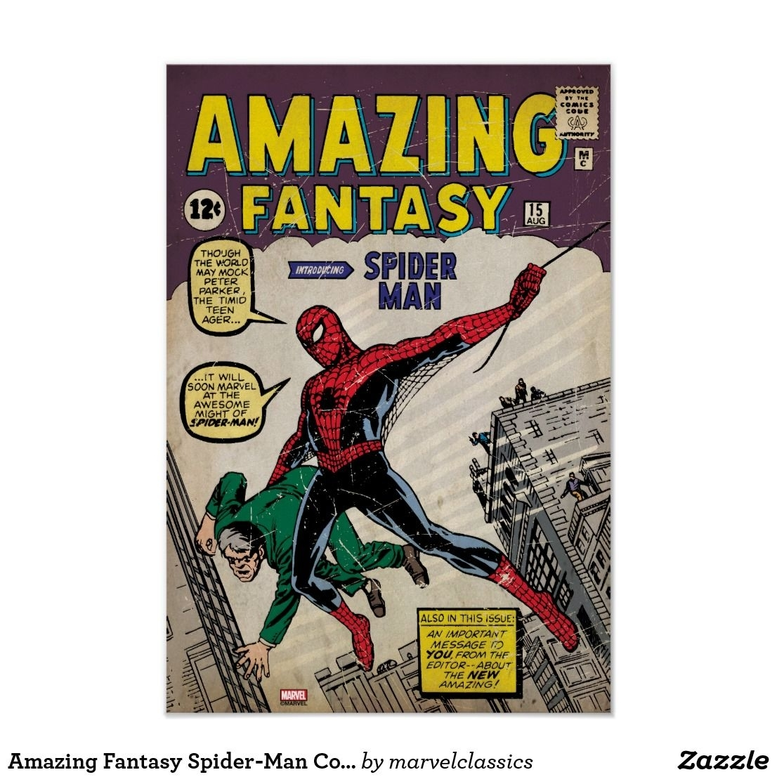 Amazing Fantasy Spider Man Comic #15 Poster | Spider Man And Spider In 2017 Framed Comic Art Prints (View 15 of 15)
