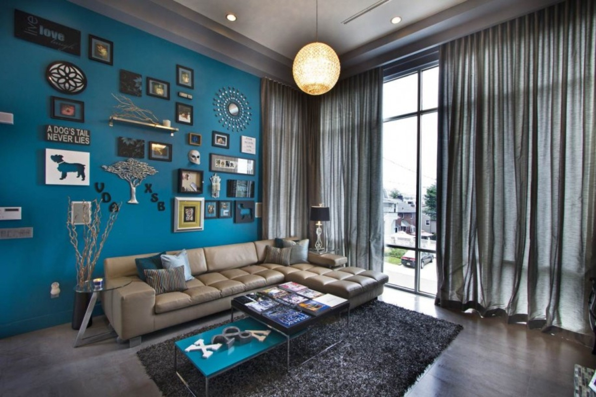 Amazing Of Awesome Blue Living Room Wall Color With L Sha #4013 Inside Recent Wall Accents For L Shaped Room (View 2 of 15)