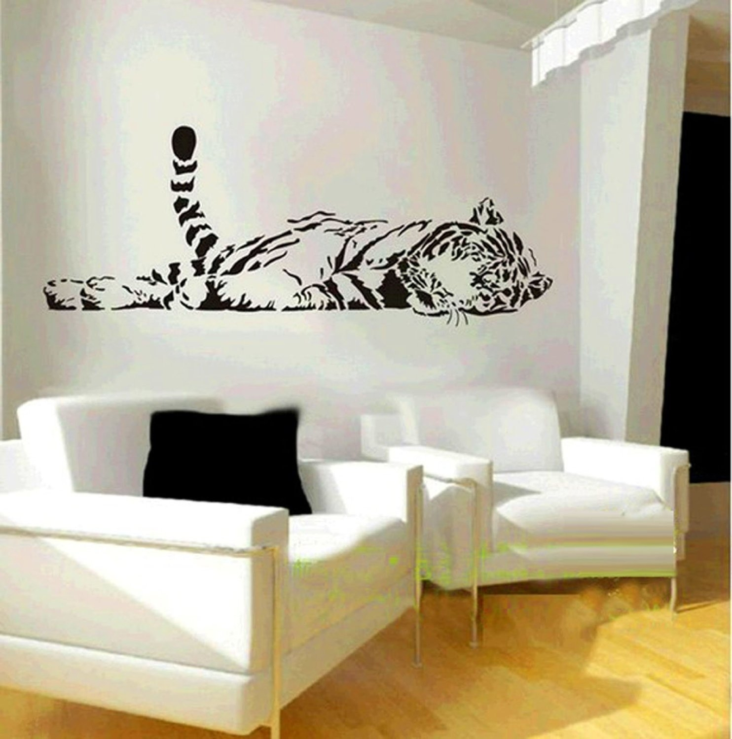 Amazon: Animal Wild Zoo Lying Tail Up Tiger Wall Decal Sticker Intended For Most Recent Vinyl Stickers Wall Accents (View 1 of 15)