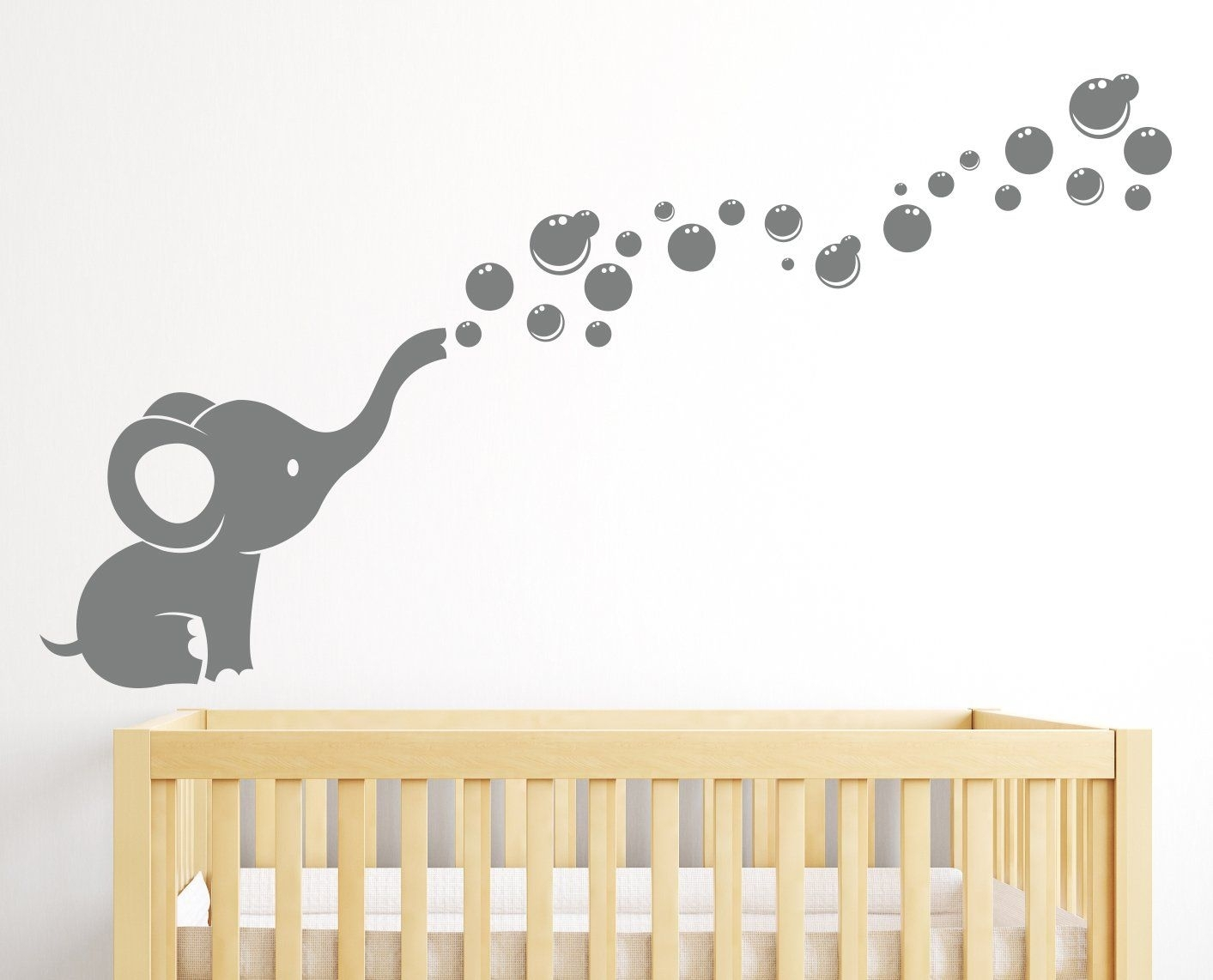 Amazon: Elephant Bubbles Wall Decal Nursery Decor: Baby | Baby With Regard To Best And Newest Nursery Wall Accents (View 3 of 15)