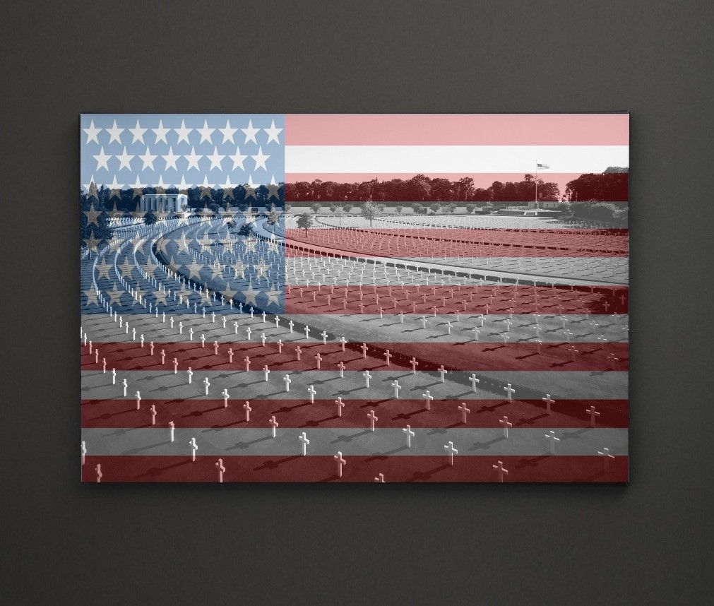 American Cemetery Usa Flag A4 Framed/box Canvas A4 A3 A2 A1 Gift Inside Most Popular Leadgate Canvas Wall Art (View 12 of 15)