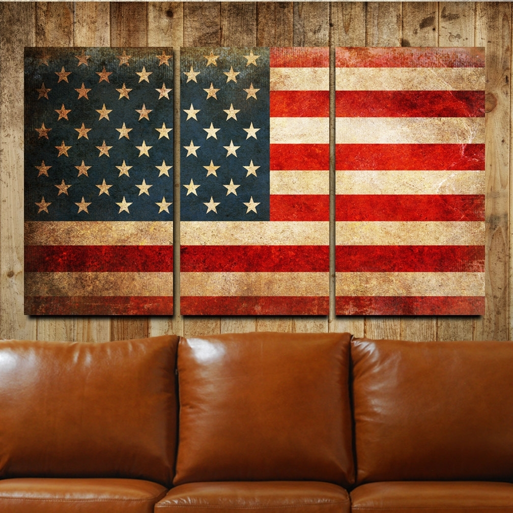 American Flag Rustic Canvas Gallery Wrapped Wall Art Triptych For Most Popular Rustic Canvas Wall Art (View 1 of 15)