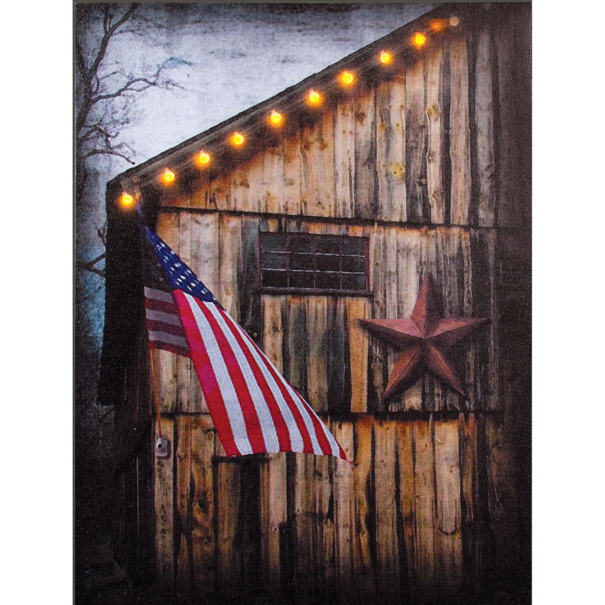 Americana Lighted Canvas | Patriotic Wall Art | Sturbridge Yankee With Current Lighted Canvas Wall Art (View 1 of 15)