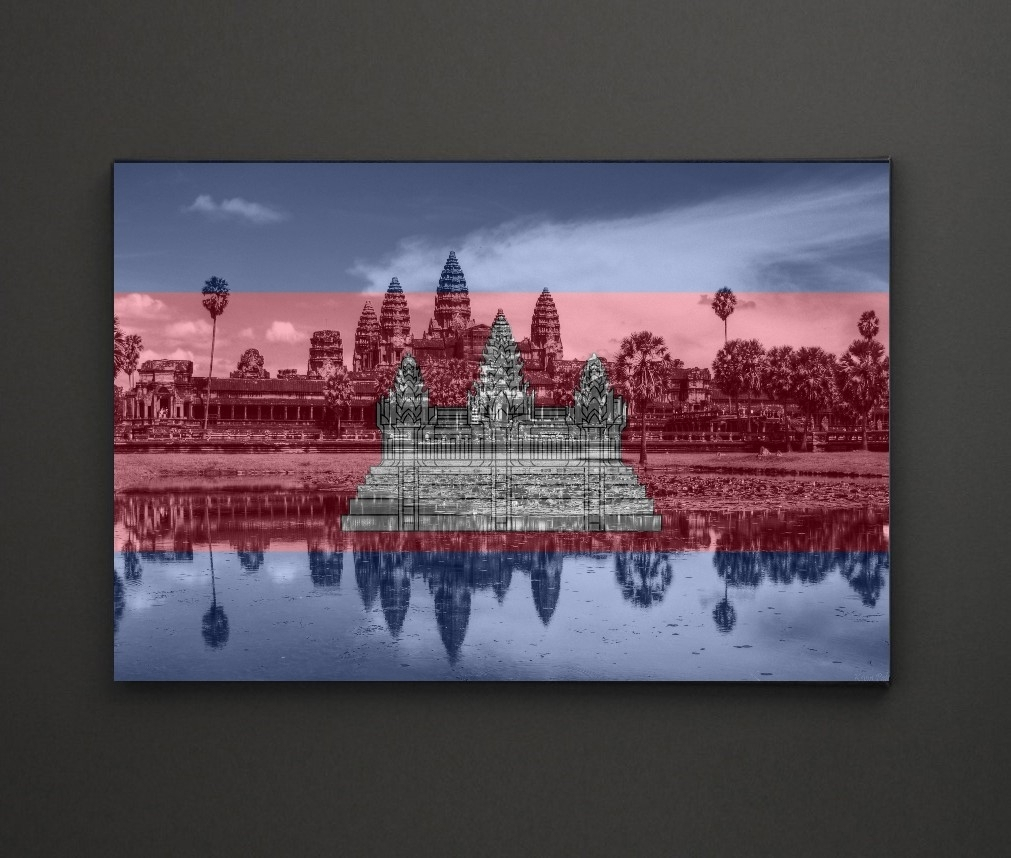 Angkor Wat Cambodia Flag A4 Framed/box Canvas A4 A3 A2 A1 Gift In Most Current Leadgate Canvas Wall Art (View 3 of 15)