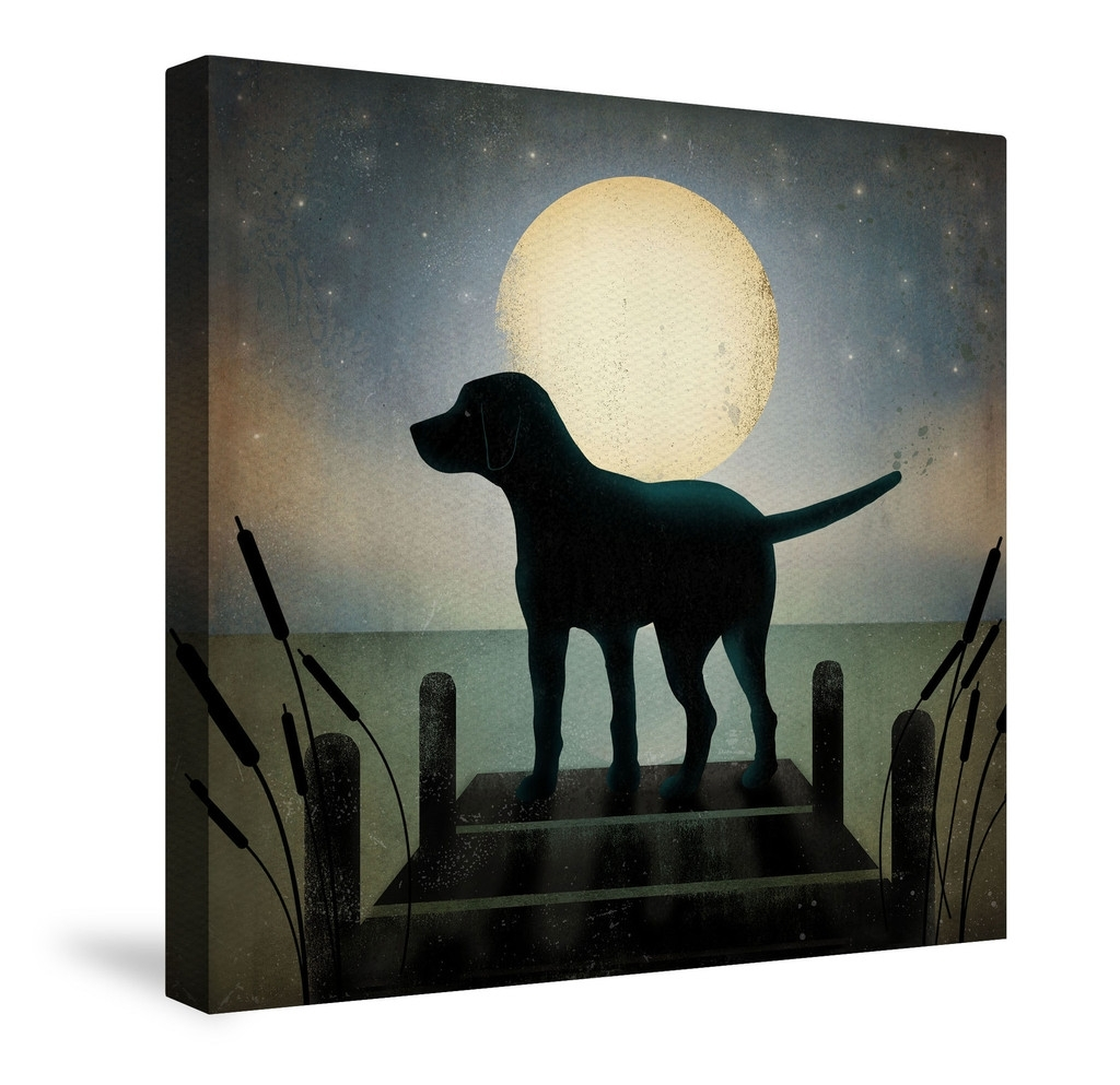 Animal Canvas Wall Art, Moonrise Black Dogryan Fowler | Art With Regard To Current Dogs Canvas Wall Art (View 6 of 15)