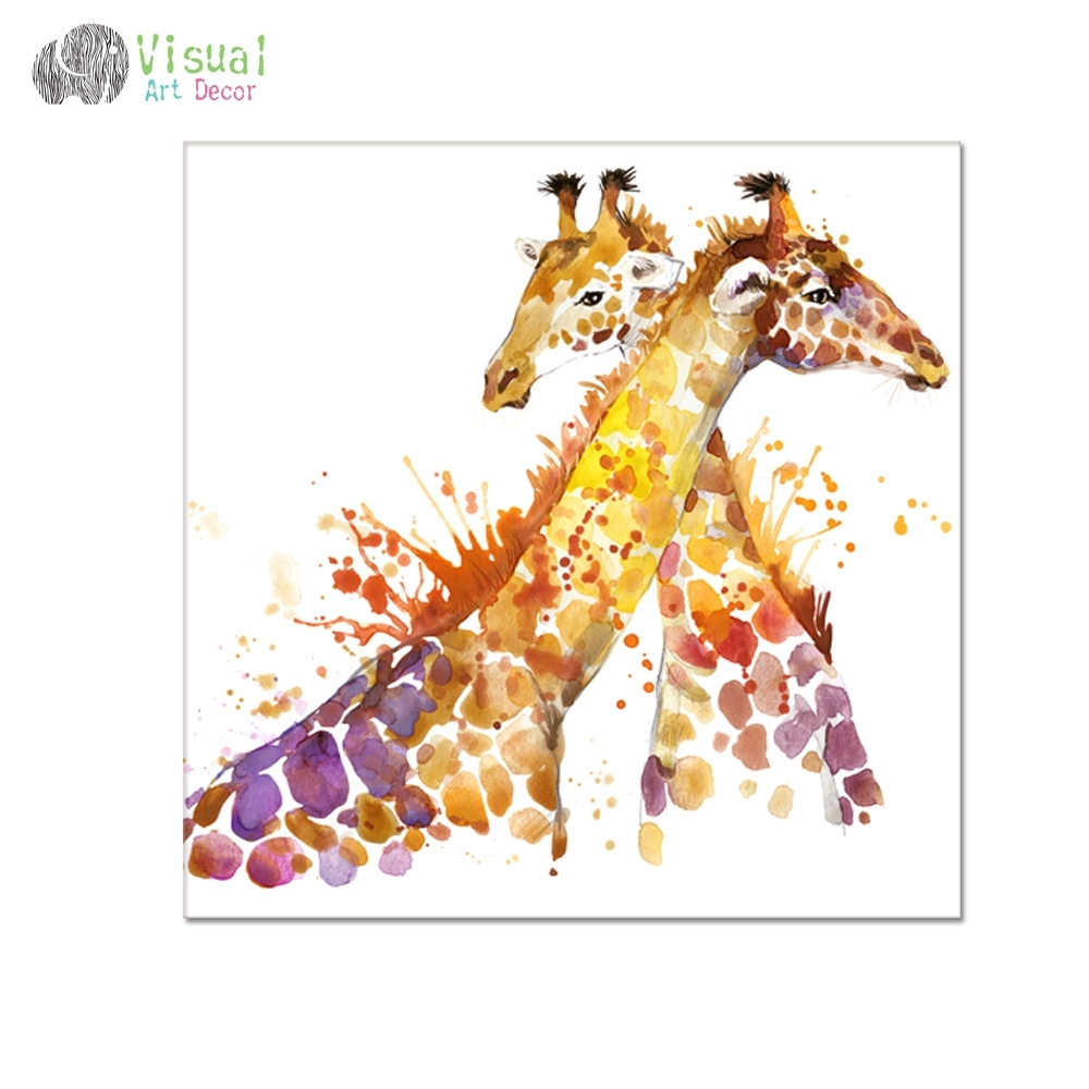 Animal Oil Painting Prints Giraffe Picture Prints Hd One Piece For Intended For 2017 Giraffe Canvas Wall Art (View 3 of 15)