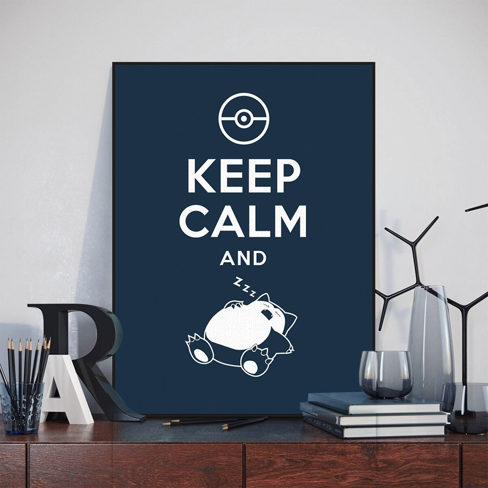 Anime Game Pokemon Snorlax Keep Calm Quote Painting On Canvas Pertaining To Current Keep Calm Canvas Wall Art (View 5 of 15)