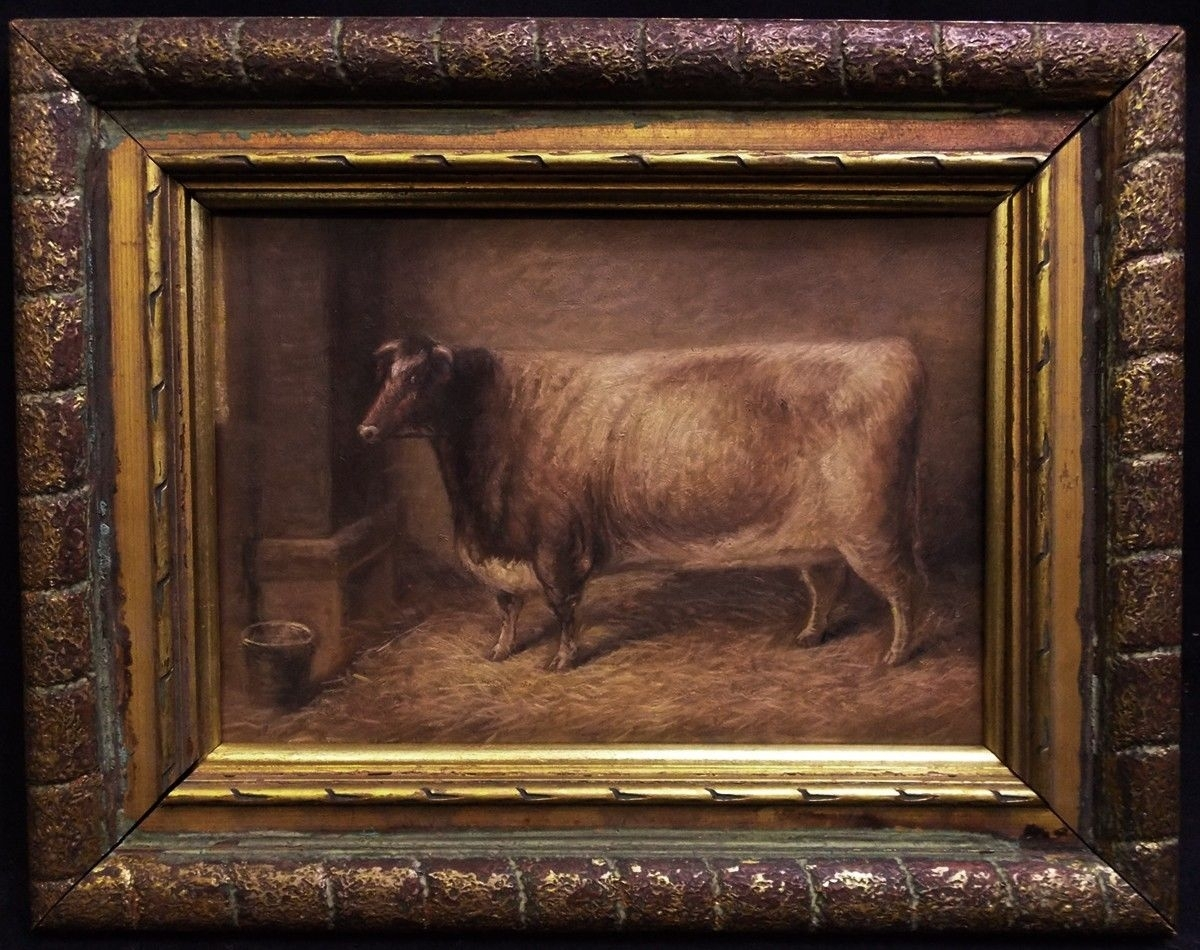 "Antique American Folk Art Animals Oil Painting ""cow Portrait Regarding Most Popular American Folk Art Framed Prints (View 11 of 15)"
