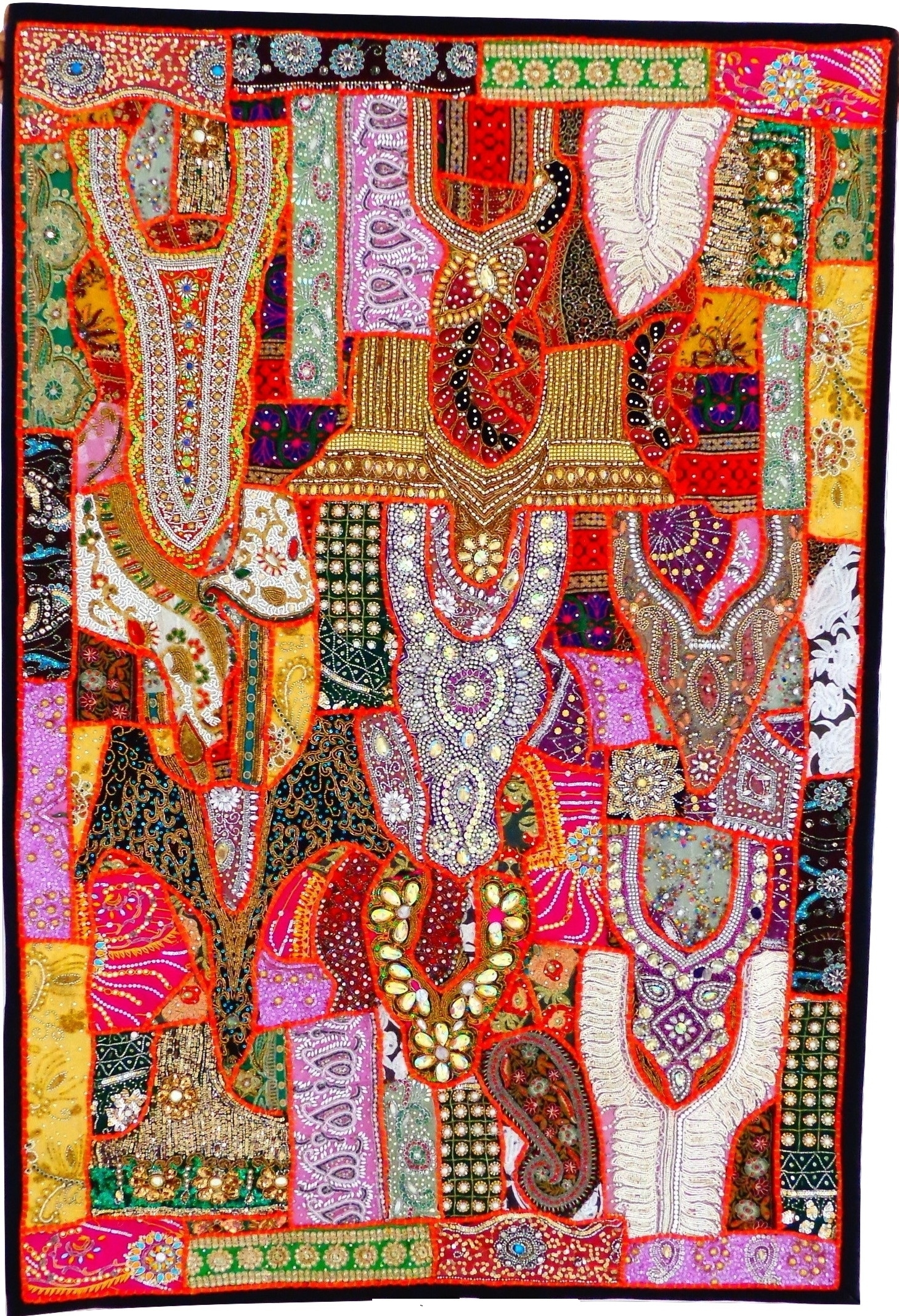 Antique Banjara Patchwork Tapestry Indian Gujarati Home Decor Wall With Most Up To Date Handmade Textile Wall Art (View 2 of 15)