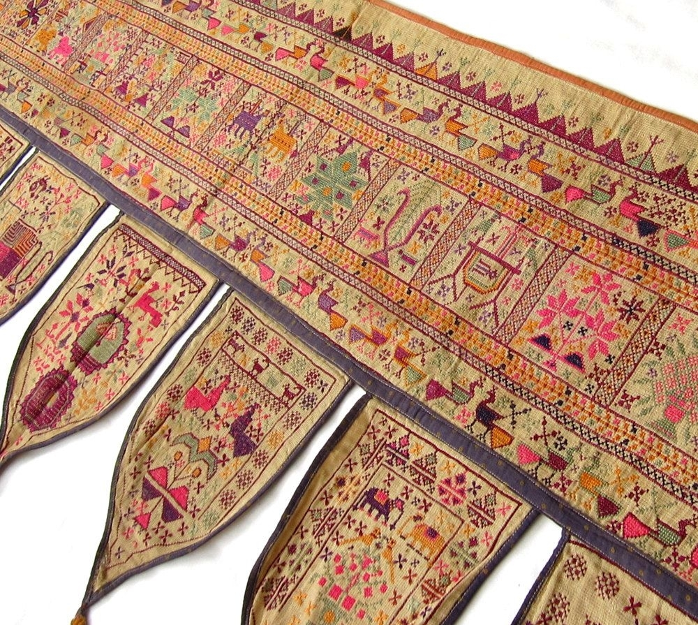Antique Cross Stitch Folk Art Textile Wall Hanging 32 | Folk Art Pertaining To Recent Indian Fabric Art Wall Hangings (View 6 of 15)
