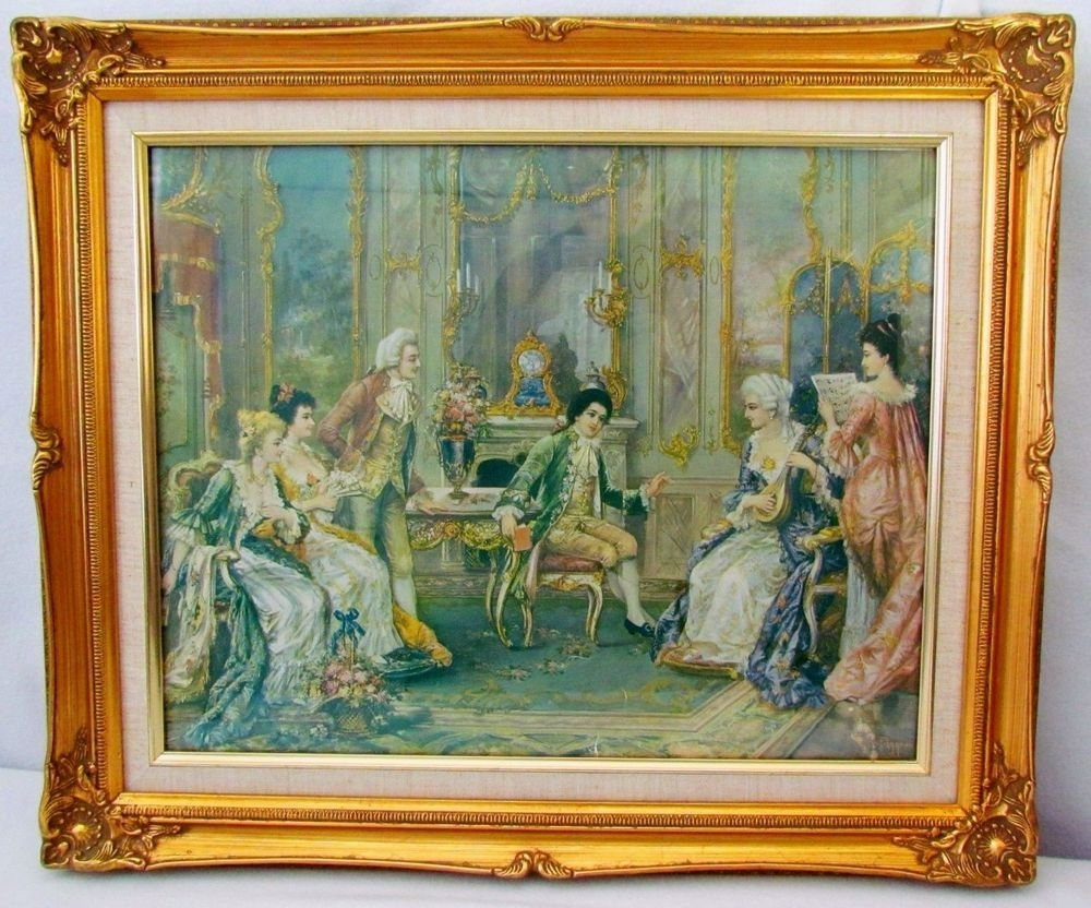 Antique Victorian Art Lithograph Hans Pinggera Gold Frame Signed Pertaining To Recent Antique Framed Art Prints (View 8 of 15)