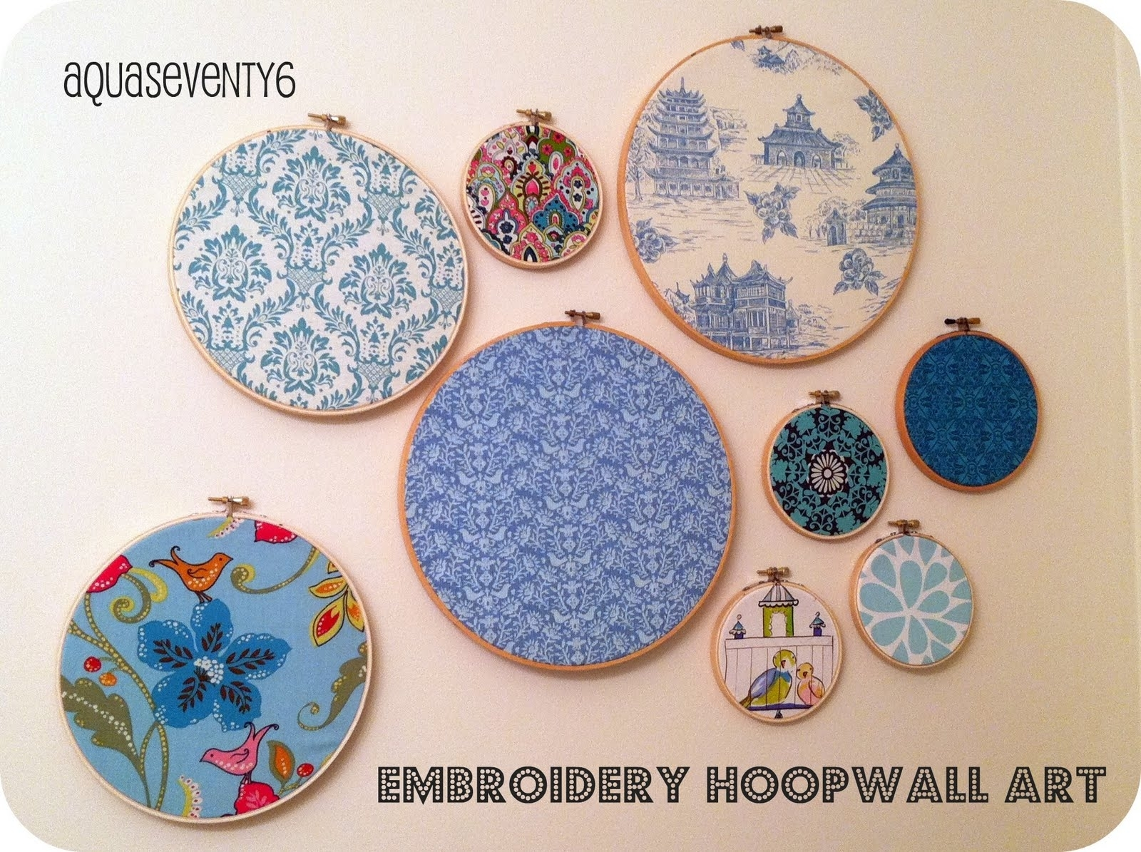 Aqua Seventy6: Embroidery Hoop Wall Art With Current Fabric Hoop Wall Art (View 4 of 15)