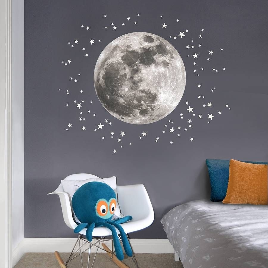 Are You Interested In Our Moon And Stars Childrens Wall Sticker With Most Current Fabric Wall Art Stickers (View 3 of 15)