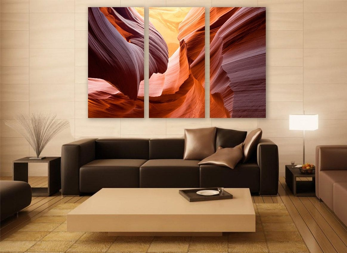 Arizona Canyon Canvas Print 3 Panels Print Wall Decor Wall Art Throughout Most Recent Large Canvas Wall Art (View 7 of 15)