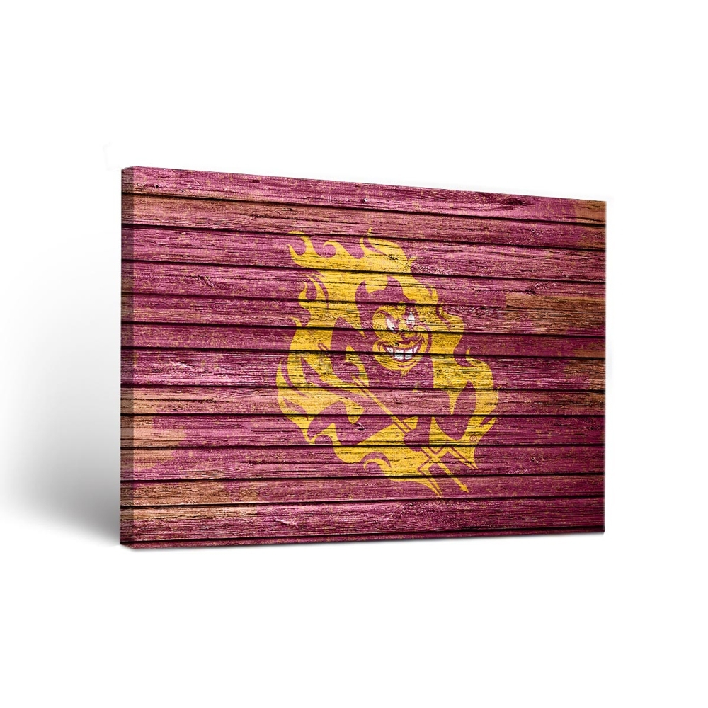 Arizona State Sun Devils Canvas Wall Art Weathered | Dorm Room In 2017 Arizona Canvas Wall Art (View 3 of 15)